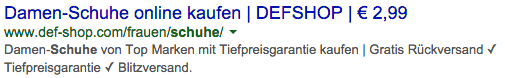 Def-Shop in den Google Serps