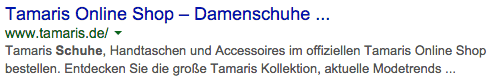 Tamaris in den Google Serps